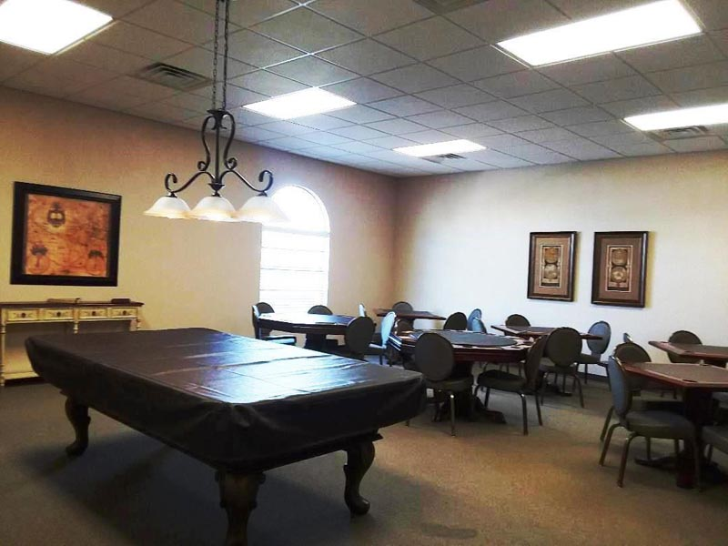 Photo of billiards and card tables.